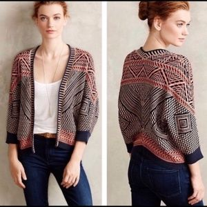 Anthropologie Moth Aztec Cardigan Crochet Sweater